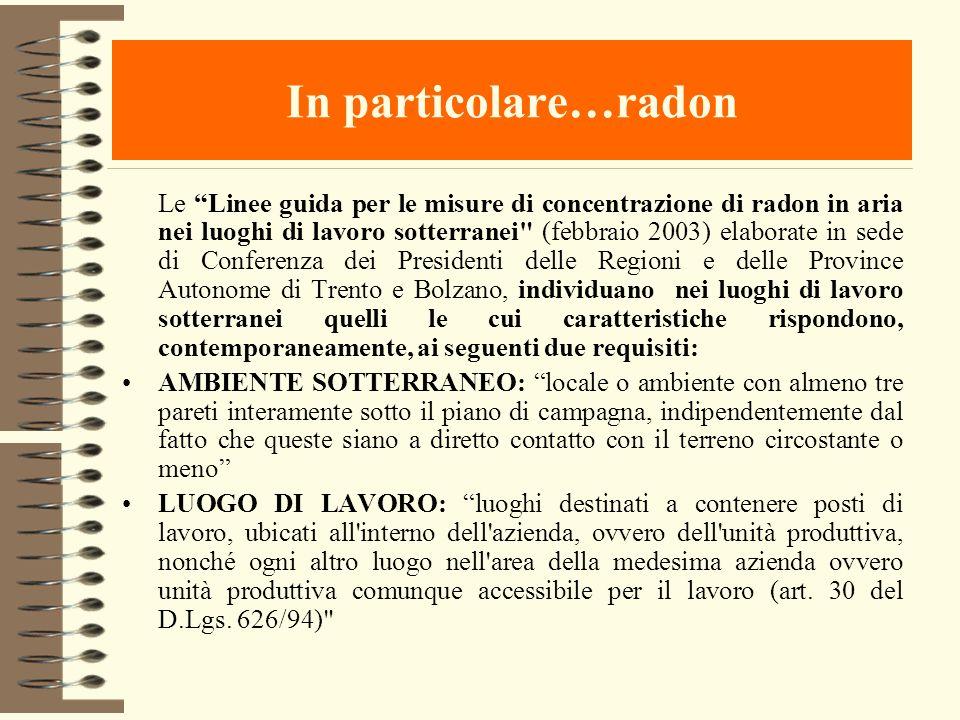 In particolare…radon Le Linee guida per le misure di concentrazione di radon in aria nei luoghi di lavoro sotterranei