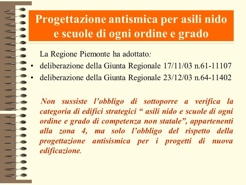 Progettazione antismica per asili nido e scuole di ogni ordine e grado La Regione Piemonte ha adottato: deliberazione della Giunta Regionale 17/11/03