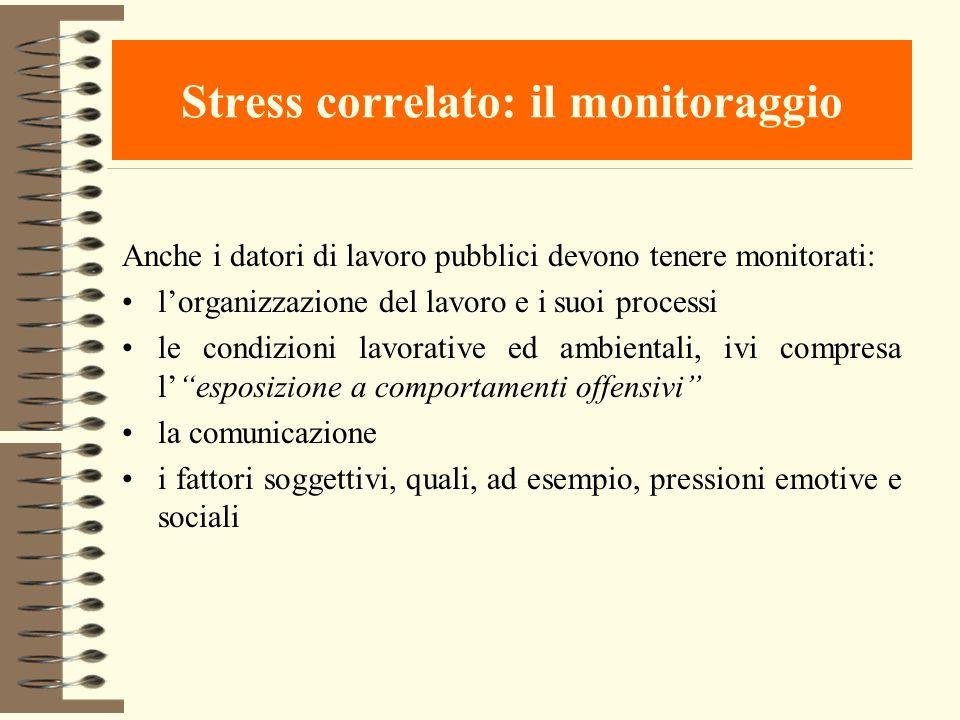 Stress correlato: il monitoraggio Anche i datori di lavoro pubblici devono tenere monitorati: lorganizzazione del lavoro e i suoi processi le condizio