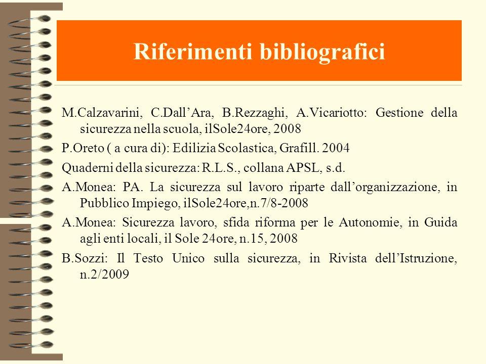 Riferimenti bibliografici M.Calzavarini, C.DallAra, B.Rezzaghi, A.Vicariotto: Gestione della sicurezza nella scuola, ilSole24ore, 2008 P.Oreto ( a cur