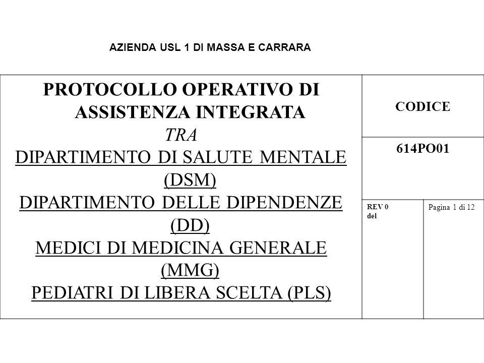 AZIENDA USL 1 DI MASSA E CARRARA PROTOCOLLO OPERATIVO DI ASSISTENZA INTEGRATA TRA DIPARTIMENTO DI SALUTE MENTALE (DSM) DIPARTIMENTO DELLE DIPENDENZE (DD) MEDICI DI MEDICINA GENERALE (MMG) PEDIATRI DI LIBERA SCELTA (PLS) CODICE 614PO01 REV 0 del Pagina 1 di 12