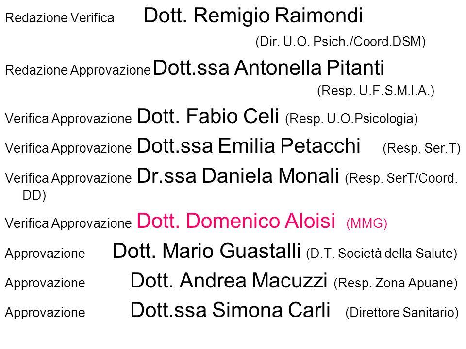 Redazione Verifica Dott.Remigio Raimondi (Dir. U.O.