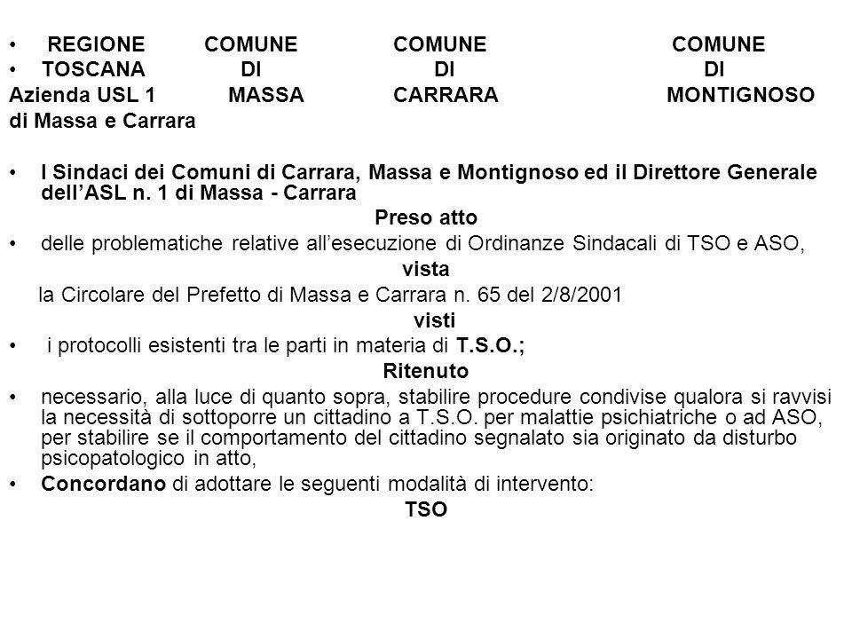 REGIONE COMUNE COMUNE COMUNE TOSCANA DI DI DI Azienda USL 1 MASSA CARRARA MONTIGNOSO di Massa e Carrara I Sindaci dei Comuni di Carrara, Massa e Montignoso ed il Direttore Generale dellASL n.