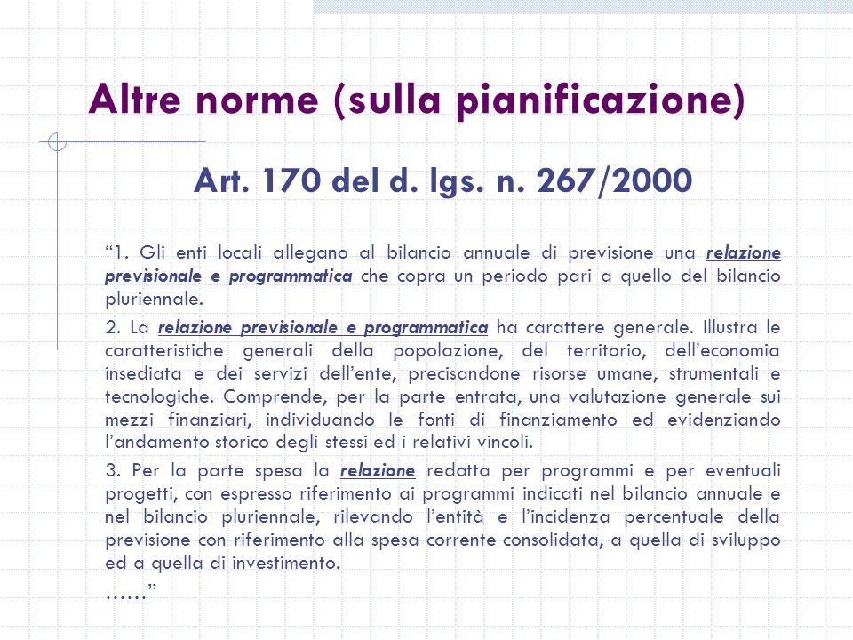 Altre norme (sulla pianificazione) Art. 170 del d.