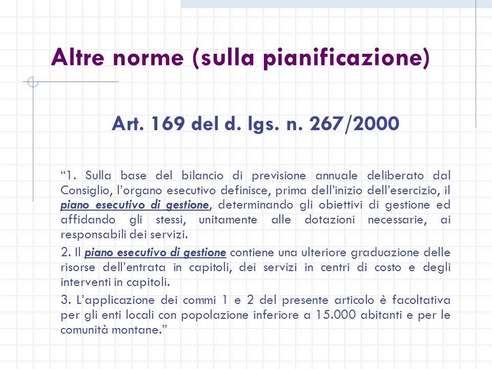 Altre norme (sulla pianificazione) Art. 169 del d.