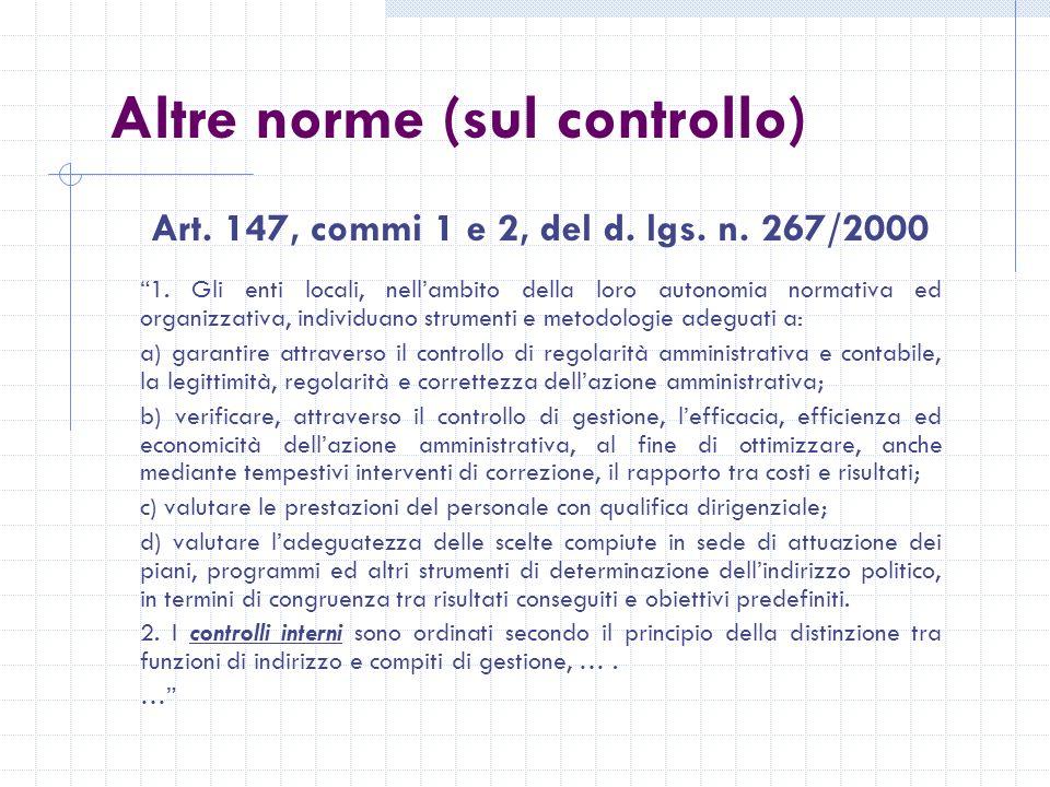 Altre norme (sul controllo) Art. 147, commi 1 e 2, del d.