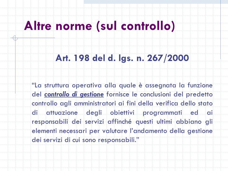 Altre norme (sul controllo) Art. 198 del d. lgs.