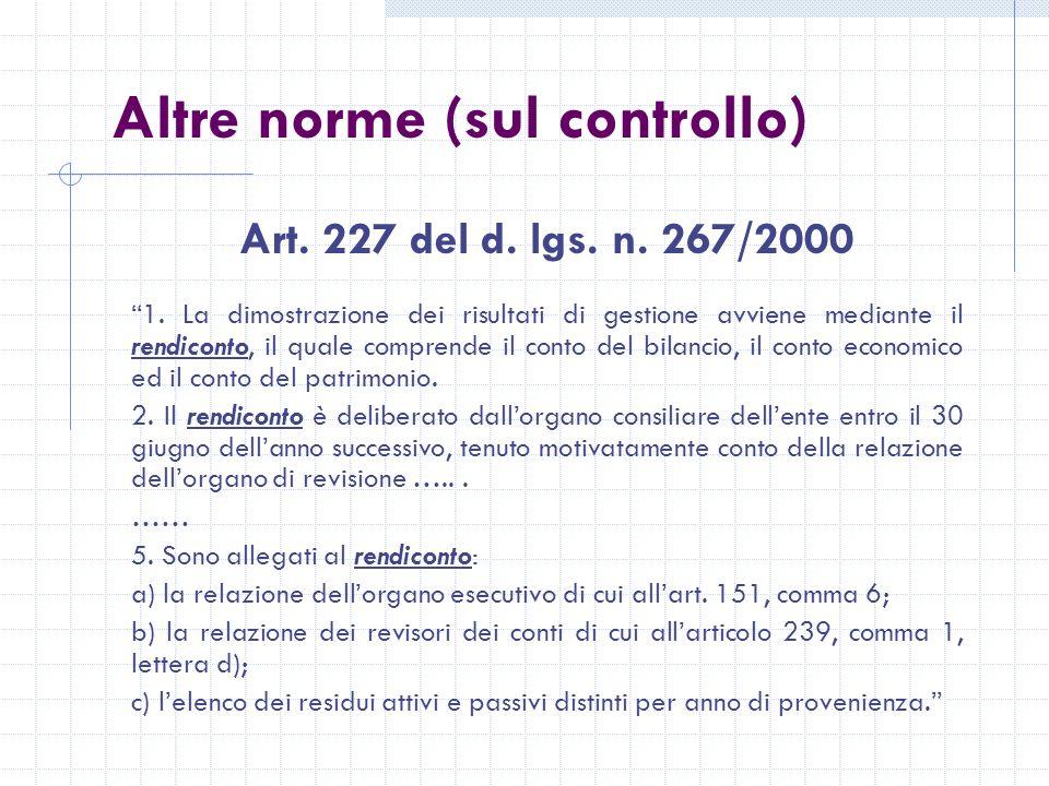 Altre norme (sul controllo) Art. 227 del d. lgs.