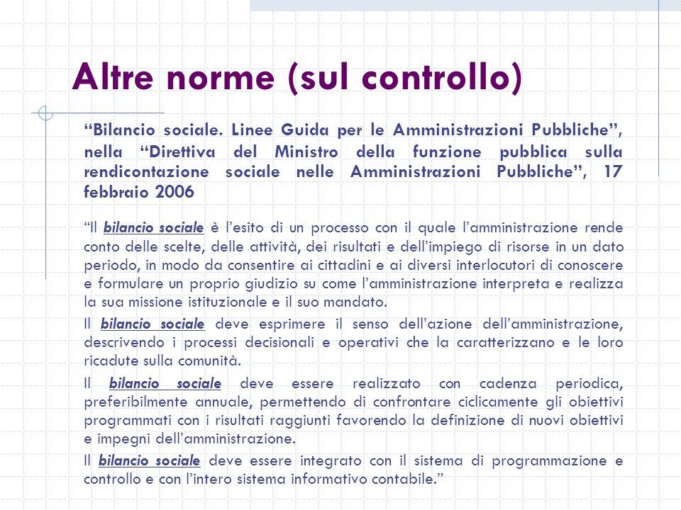 Altre norme (sul controllo) Bilancio sociale.