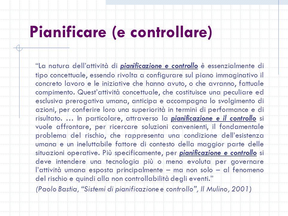 Pianificare (e controllare) La natura dellattività di pianificazione e controllo è essenzialmente di tipo concettuale, essendo rivolta a configurare sul piano immaginativo il concreto lavoro e le iniziative che hanno avuto, o che avranno, fattuale compimento.