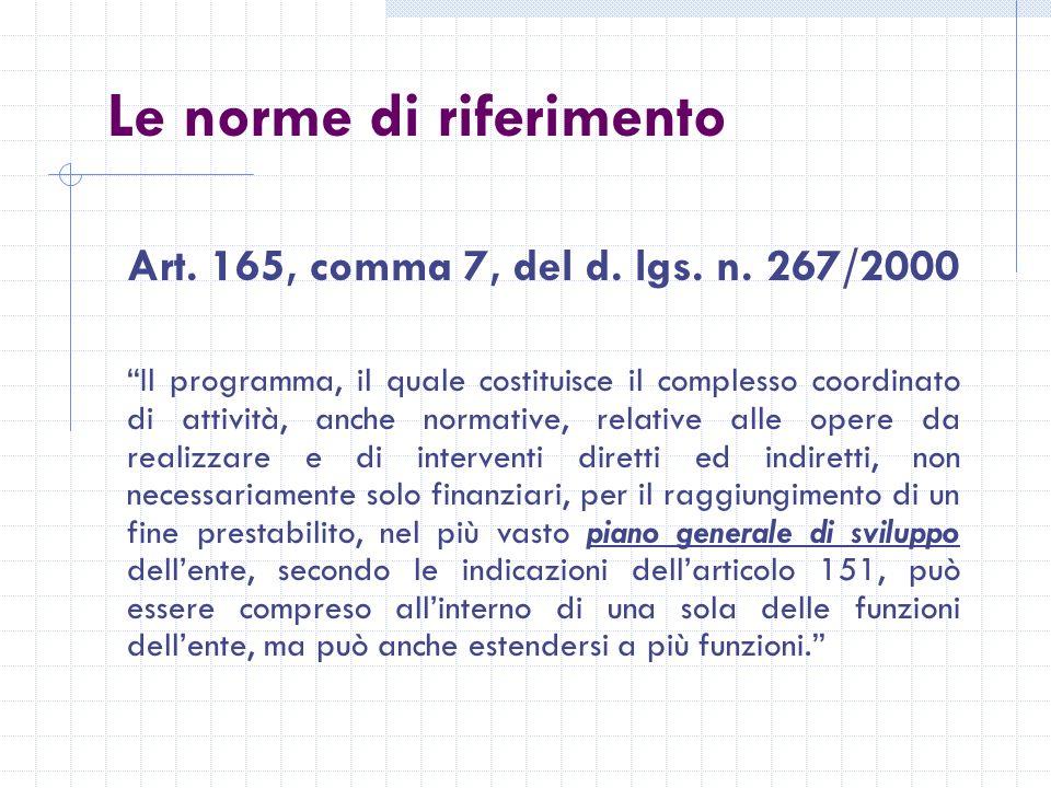 Le norme di riferimento Art. 165, comma 7, del d.