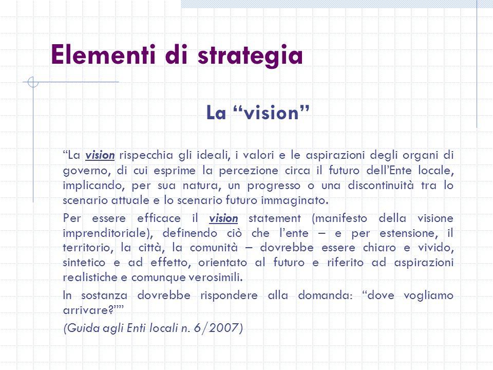 Elementi di strategia La vision La vision rispecchia gli ideali, i valori e le aspirazioni degli organi di governo, di cui esprime la percezione circa il futuro dellEnte locale, implicando, per sua natura, un progresso o una discontinuità tra lo scenario attuale e lo scenario futuro immaginato.