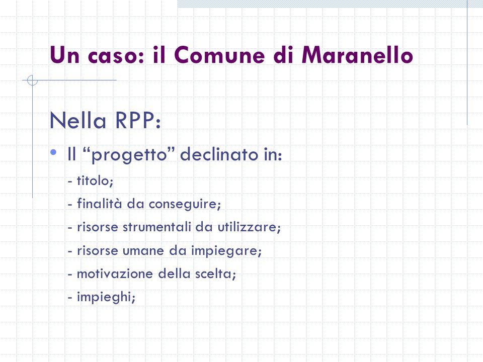 Un caso: il Comune di Maranello Nella RPP: Il progetto declinato in: - titolo; - finalità da conseguire; - risorse strumentali da utilizzare; - risorse umane da impiegare; - motivazione della scelta; - impieghi;