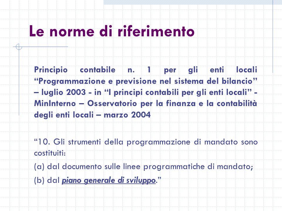 Le norme di riferimento Principio contabile n.