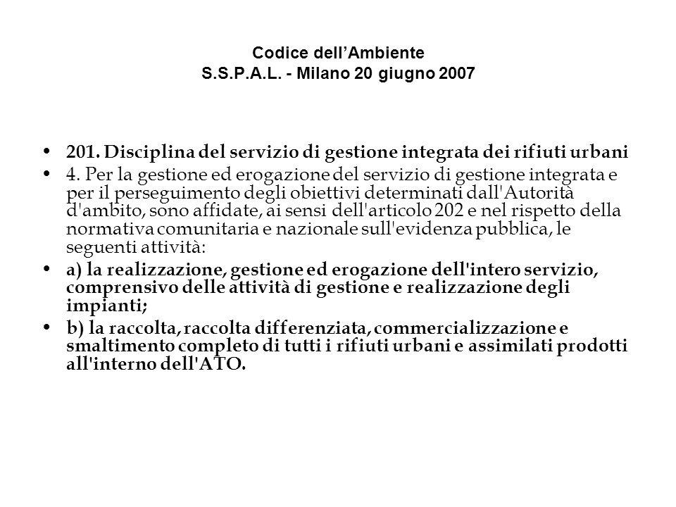 Codice dellAmbiente S.S.P.A.L. - Milano 20 giugno 2007 201.