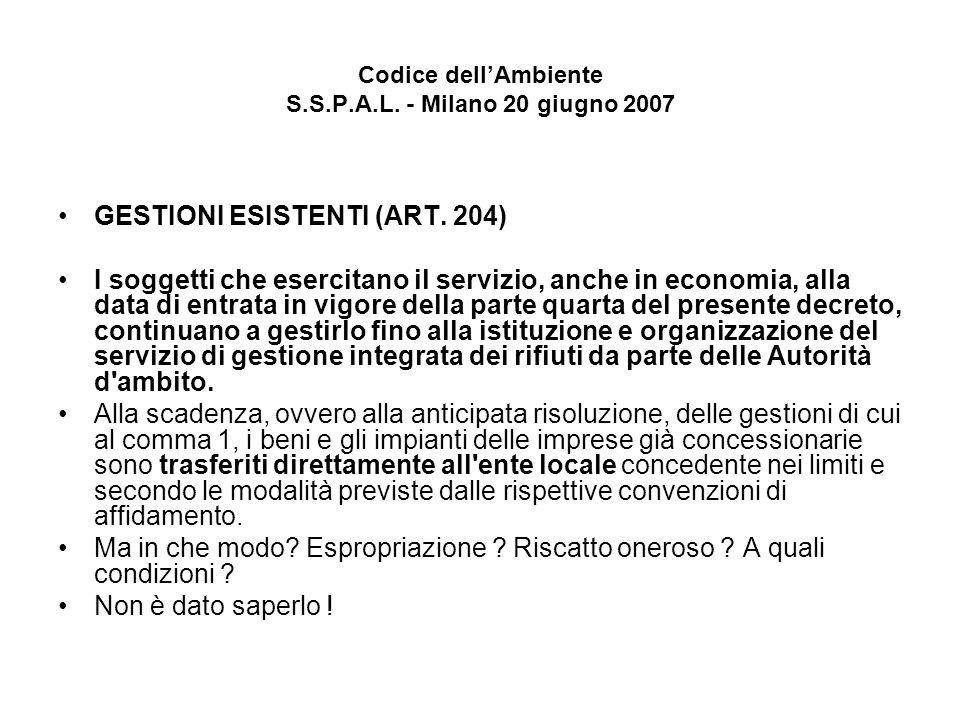 Codice dellAmbiente S.S.P.A.L.- Milano 20 giugno 2007 GESTIONI ESISTENTI (ART.