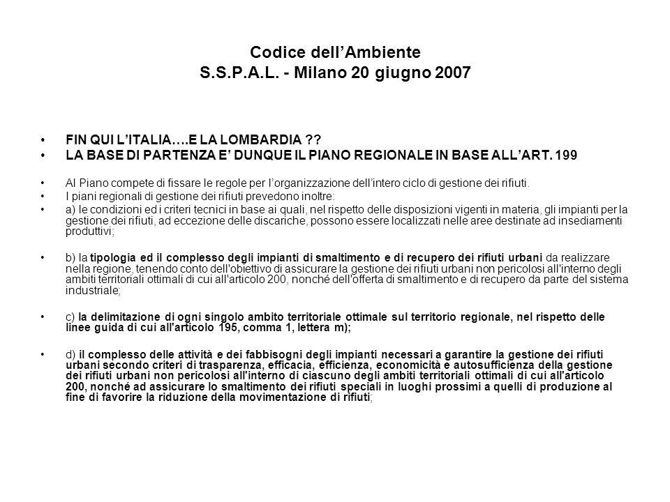 Codice dellAmbiente S.S.P.A.L.- Milano 20 giugno 2007 FIN QUI LITALIA….E LA LOMBARDIA ?.