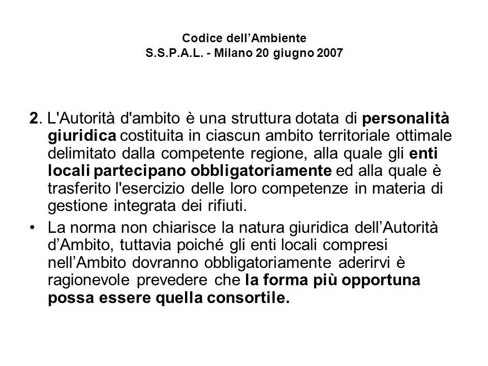 Codice dellAmbiente S.S.P.A.L. - Milano 20 giugno 2007 2.