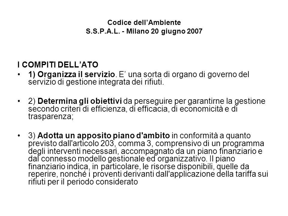 Codice dellAmbiente S.S.P.A.L. - Milano 20 giugno 2007 I COMPITI DELLATO 1) Organizza il servizio.