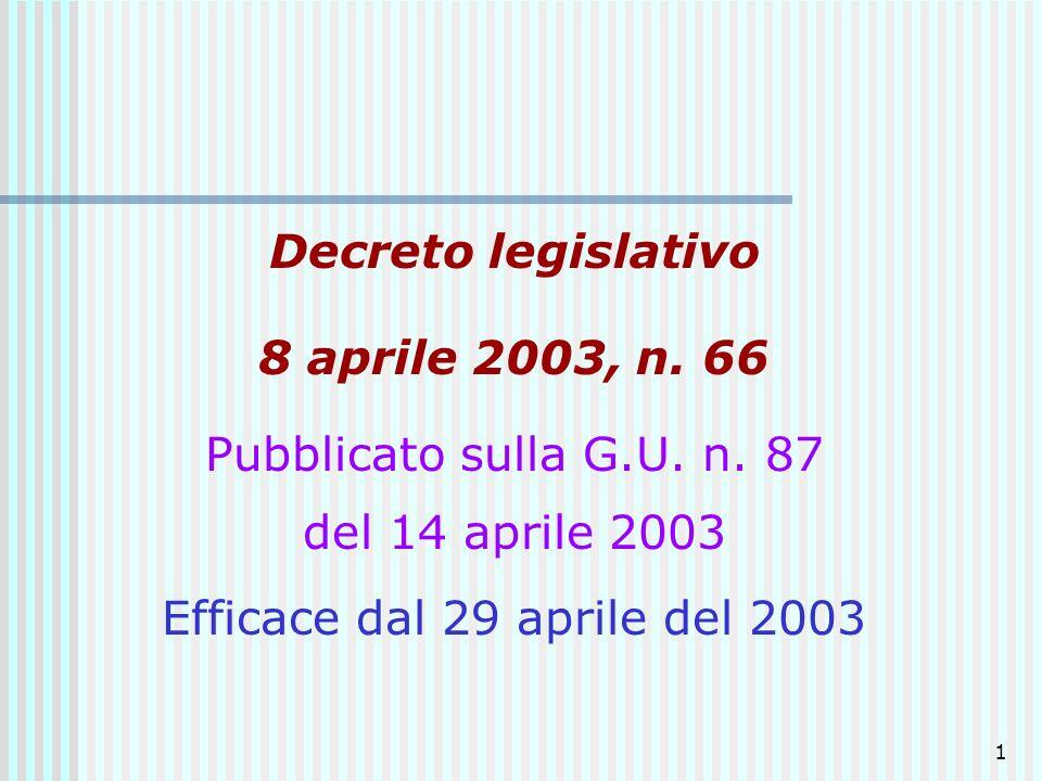 1 Decreto legislativo 8 aprile 2003, n. 66 Pubblicato sulla G.U. n. 87 del 14 aprile 2003 Efficace dal 29 aprile del 2003