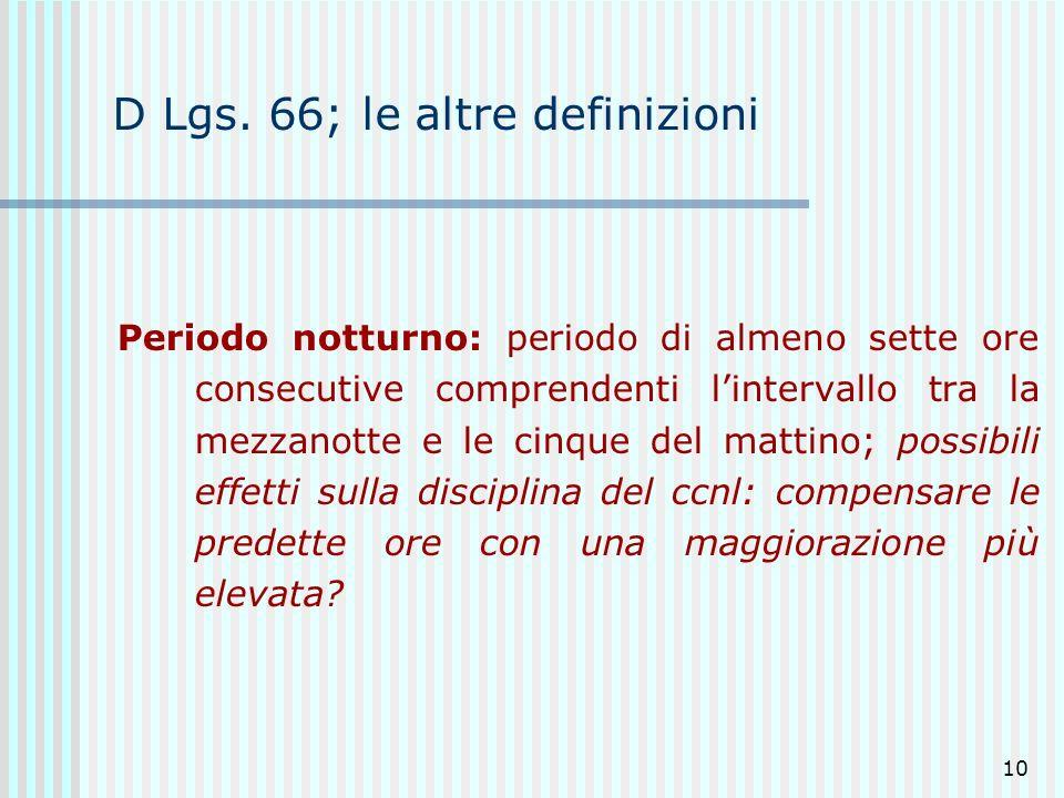 10 D Lgs. 66; le altre definizioni Periodo notturno: periodo di almeno sette ore consecutive comprendenti lintervallo tra la mezzanotte e le cinque de