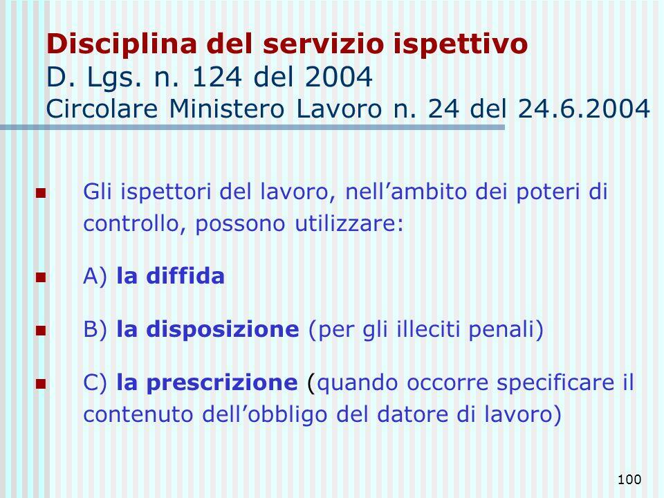100 Disciplina del servizio ispettivo D. Lgs. n. 124 del 2004 Circolare Ministero Lavoro n. 24 del 24.6.2004 Gli ispettori del lavoro, nellambito dei