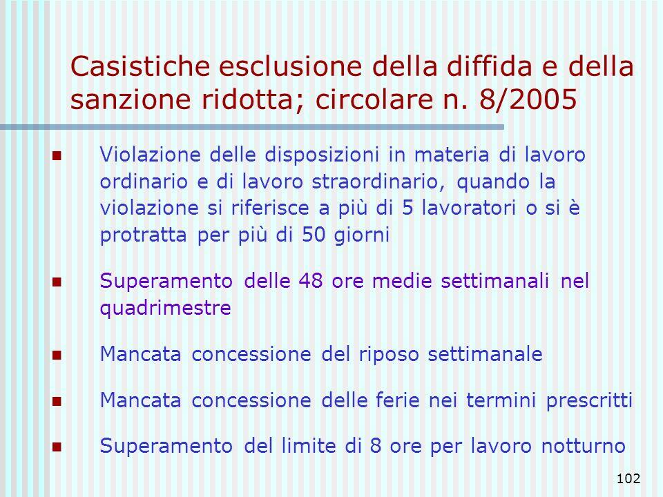 102 Casistiche esclusione della diffida e della sanzione ridotta; circolare n. 8/2005 Violazione delle disposizioni in materia di lavoro ordinario e d