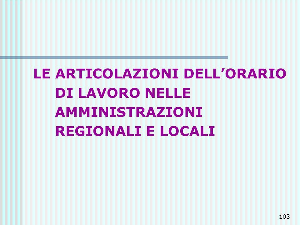 103 LE ARTICOLAZIONI DELLORARIO DI LAVORO NELLE AMMINISTRAZIONI REGIONALI E LOCALI