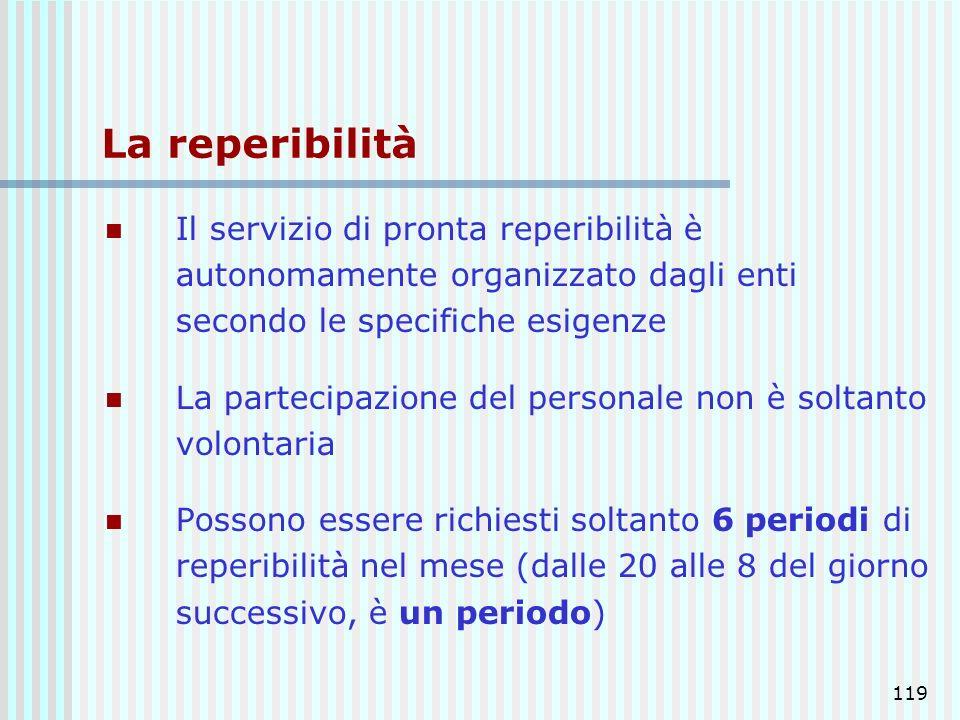 119 La reperibilità Il servizio di pronta reperibilità è autonomamente organizzato dagli enti secondo le specifiche esigenze La partecipazione del per