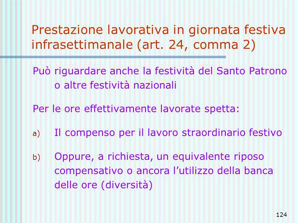 124 Prestazione lavorativa in giornata festiva infrasettimanale (art. 24, comma 2) Può riguardare anche la festività del Santo Patrono o altre festivi