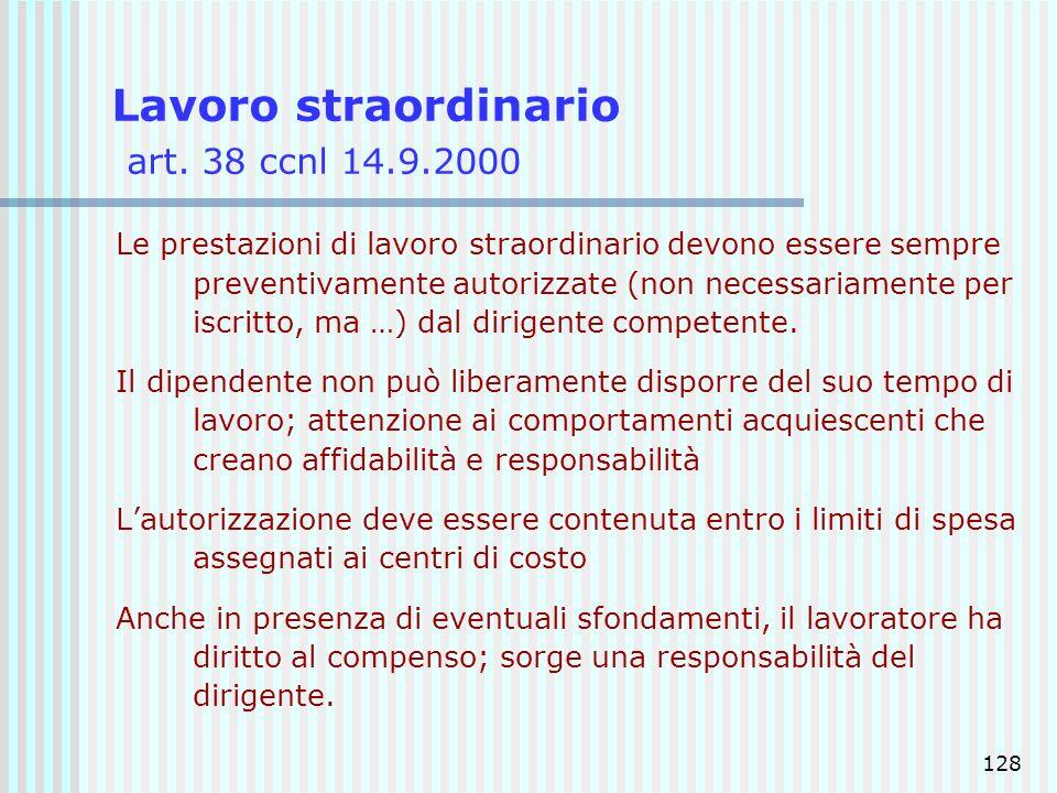 128 Lavoro straordinario art. 38 ccnl 14.9.2000 Le prestazioni di lavoro straordinario devono essere sempre preventivamente autorizzate (non necessari