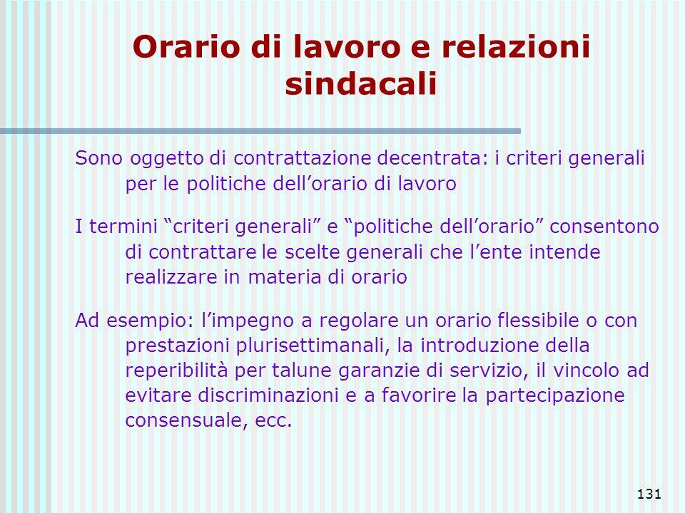 131 Orario di lavoro e relazioni sindacali Sono oggetto di contrattazione decentrata: i criteri generali per le politiche dellorario di lavoro I termi