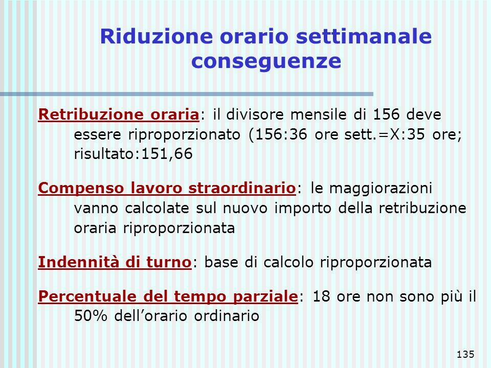 135 Riduzione orario settimanale conseguenze Retribuzione oraria: il divisore mensile di 156 deve essere riproporzionato (156:36 ore sett.=X:35 ore; r