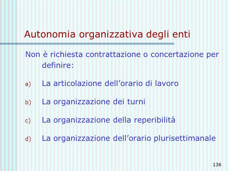 136 Autonomia organizzativa degli enti Non è richiesta contrattazione o concertazione per definire: a) La articolazione dellorario di lavoro b) La org
