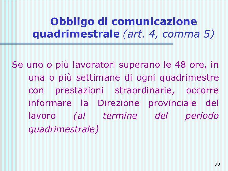 22 Obbligo di comunicazione quadrimestrale (art. 4, comma 5) Se uno o più lavoratori superano le 48 ore, in una o più settimane di ogni quadrimestre c