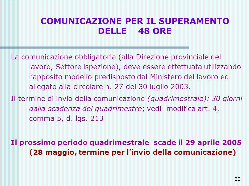 23 COMUNICAZIONE PER IL SUPERAMENTO DELLE 48 ORE La comunicazione obbligatoria (alla Direzione provinciale del lavoro, Settore ispezione), deve essere