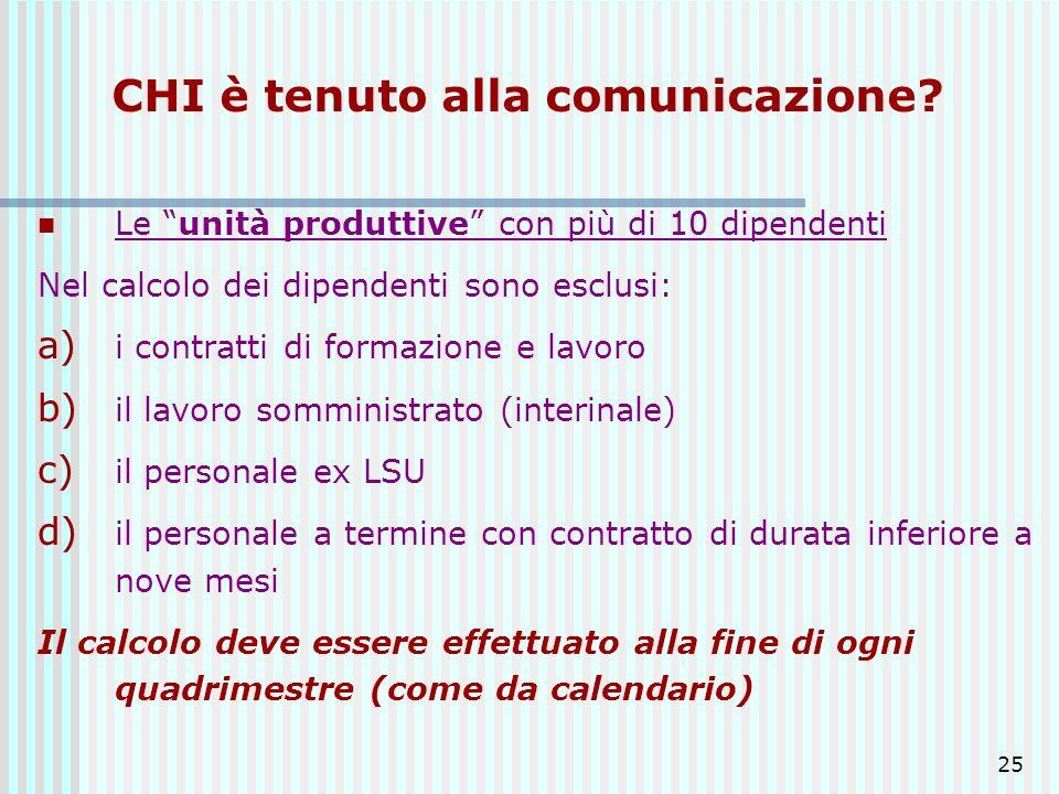 25 CHI è tenuto alla comunicazione? Le unità produttive con più di 10 dipendenti Nel calcolo dei dipendenti sono esclusi: a) i contratti di formazione