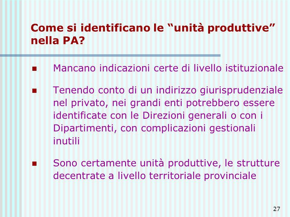 27 Come si identificano le unità produttive nella PA? Mancano indicazioni certe di livello istituzionale Tenendo conto di un indirizzo giurisprudenzia
