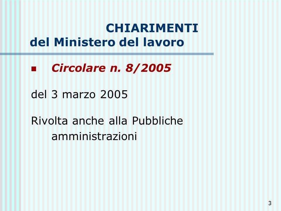 3 CHIARIMENTI del Ministero del lavoro Circolare n. 8/2005 del 3 marzo 2005 Rivolta anche alla Pubbliche amministrazioni