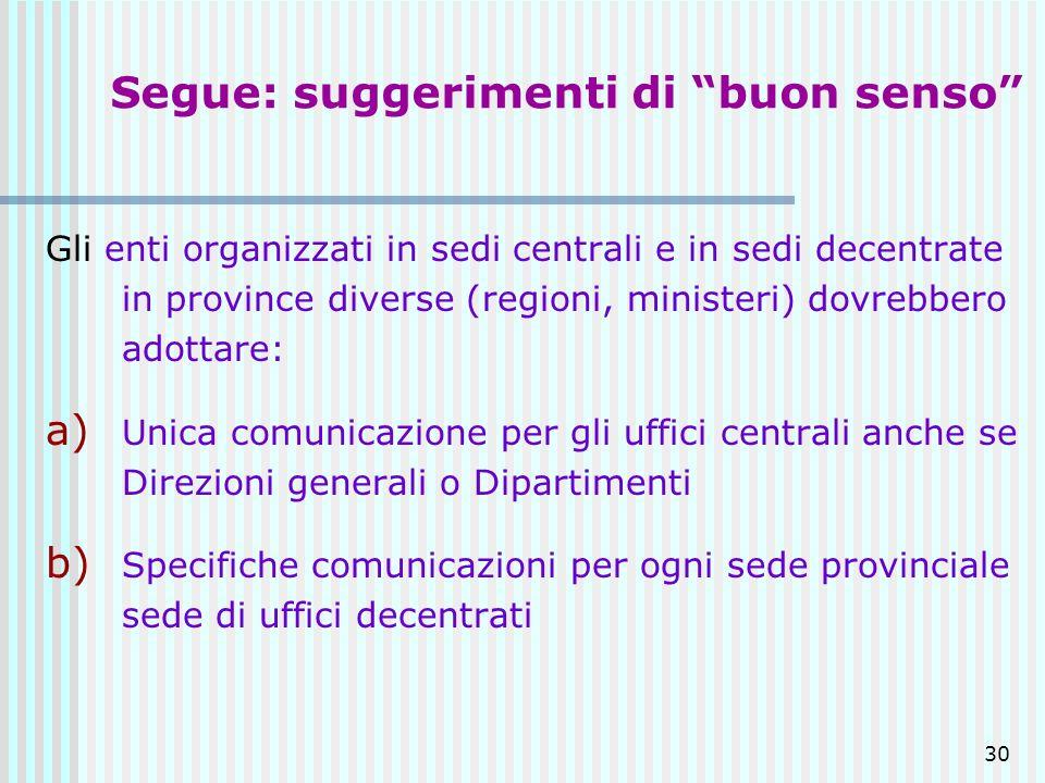 30 Segue: suggerimenti di buon senso Gli enti organizzati in sedi centrali e in sedi decentrate in province diverse (regioni, ministeri) dovrebbero ad