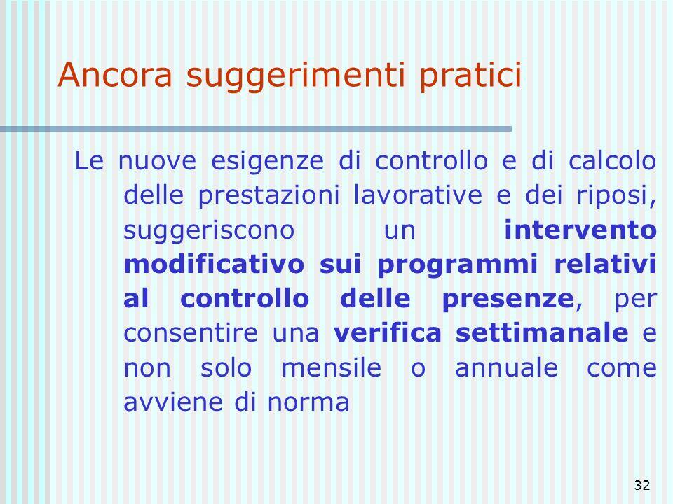 32 Ancora suggerimenti pratici Le nuove esigenze di controllo e di calcolo delle prestazioni lavorative e dei riposi, suggeriscono un intervento modif