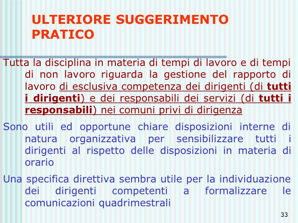 33 ULTERIORE SUGGERIMENTO PRATICO Tutta la disciplina in materia di tempi di lavoro e di tempi di non lavoro riguarda la gestione del rapporto di lavo