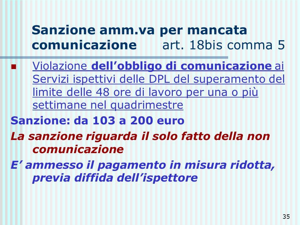 35 Sanzione amm.va per mancata comunicazione art. 18bis comma 5 Violazione dellobbligo di comunicazione ai Servizi ispettivi delle DPL del superamento