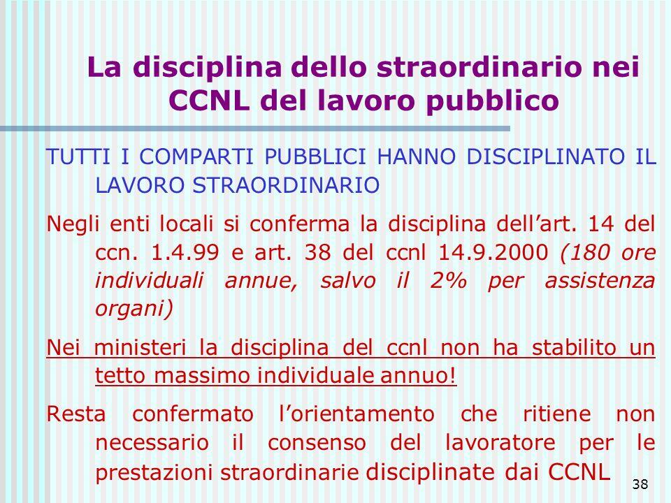 38 La disciplina dello straordinario nei CCNL del lavoro pubblico TUTTI I COMPARTI PUBBLICI HANNO DISCIPLINATO IL LAVORO STRAORDINARIO Negli enti loca