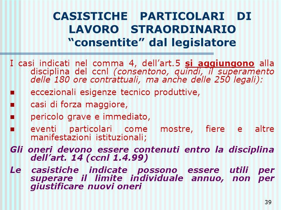 39 CASISTICHE PARTICOLARI DI LAVORO STRAORDINARIO consentite dal legislatore I casi indicati nel comma 4, dellart.5 si aggiungono alla disciplina del