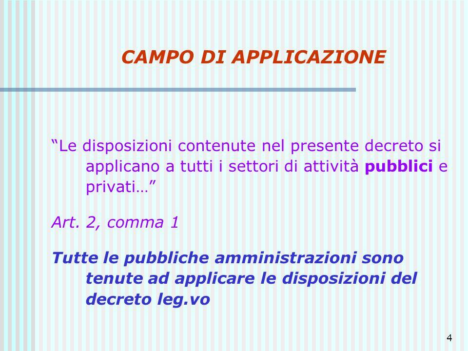 4 CAMPO DI APPLICAZIONE Le disposizioni contenute nel presente decreto si applicano a tutti i settori di attività pubblici e privati… Art. 2, comma 1