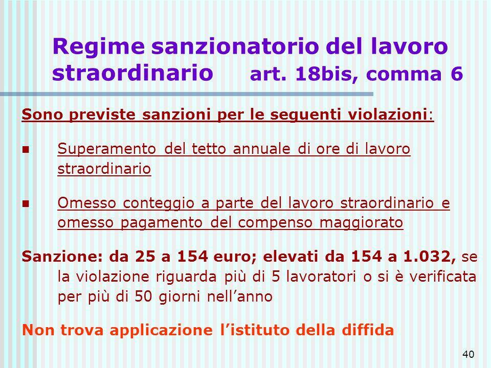 40 Regime sanzionatorio del lavoro straordinario art. 18bis, comma 6 Sono previste sanzioni per le seguenti violazioni: Superamento del tetto annuale