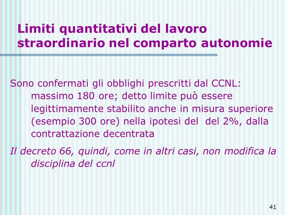 41 Limiti quantitativi del lavoro straordinario nel comparto autonomie Sono confermati gli obblighi prescritti dal CCNL: massimo 180 ore; detto limite