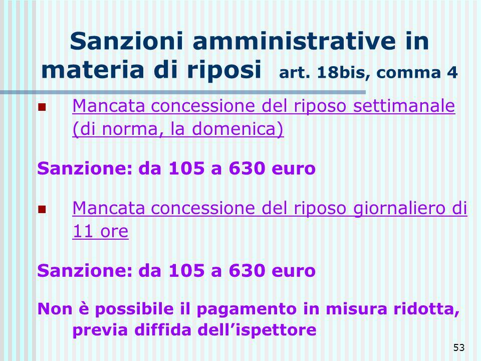53 Sanzioni amministrative in materia di riposi art. 18bis, comma 4 Mancata concessione del riposo settimanale (di norma, la domenica) Sanzione: da 10