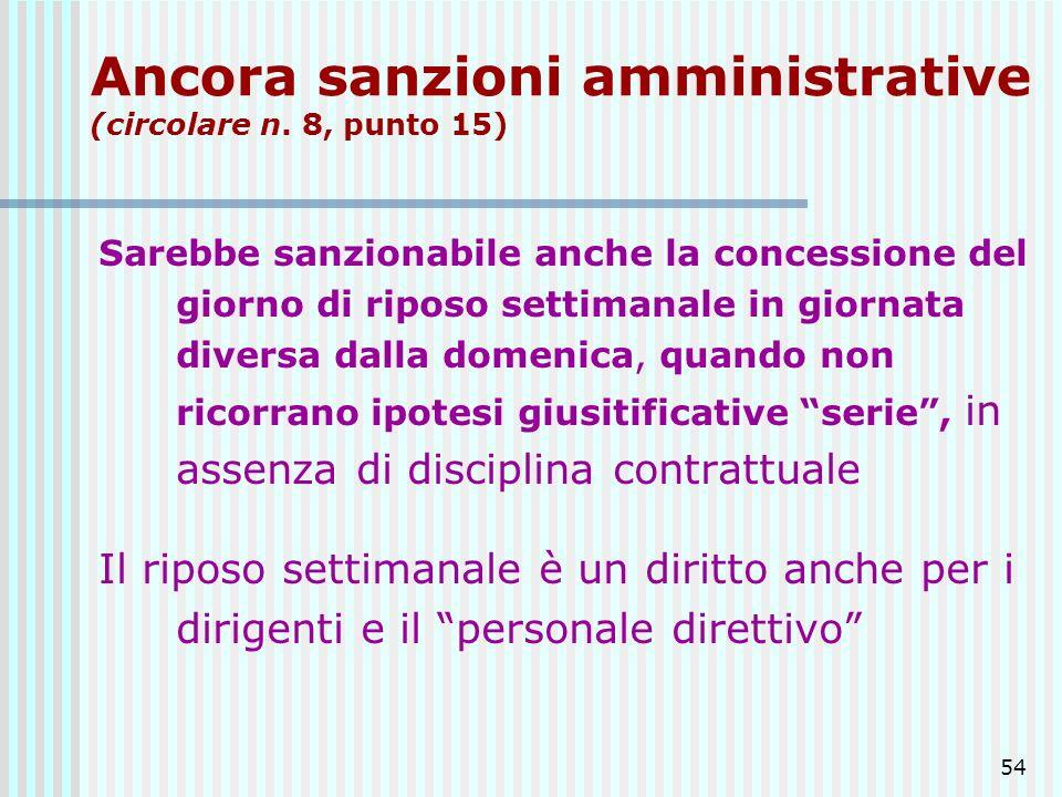 54 Ancora sanzioni amministrative (circolare n. 8, punto 15) Sarebbe sanzionabile anche la concessione del giorno di riposo settimanale in giornata di